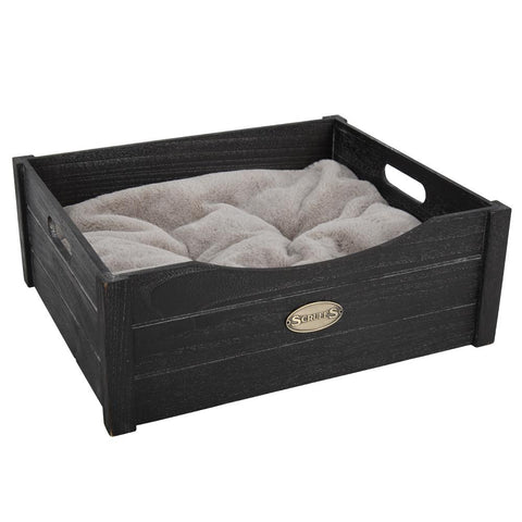 Rustic Wooden Pet Bed - Charcoal Cat Bed Scruffs®