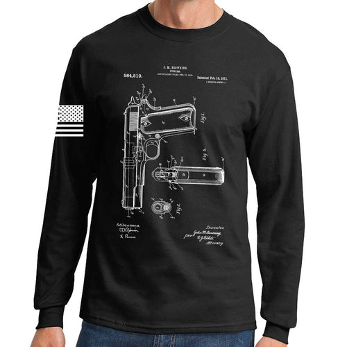 1911 Pistol Blueprint Long Sleeve T-shirt