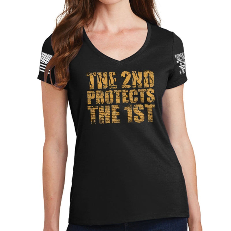 Ladies 2nd Protects The 1st V-Neck T-shirt