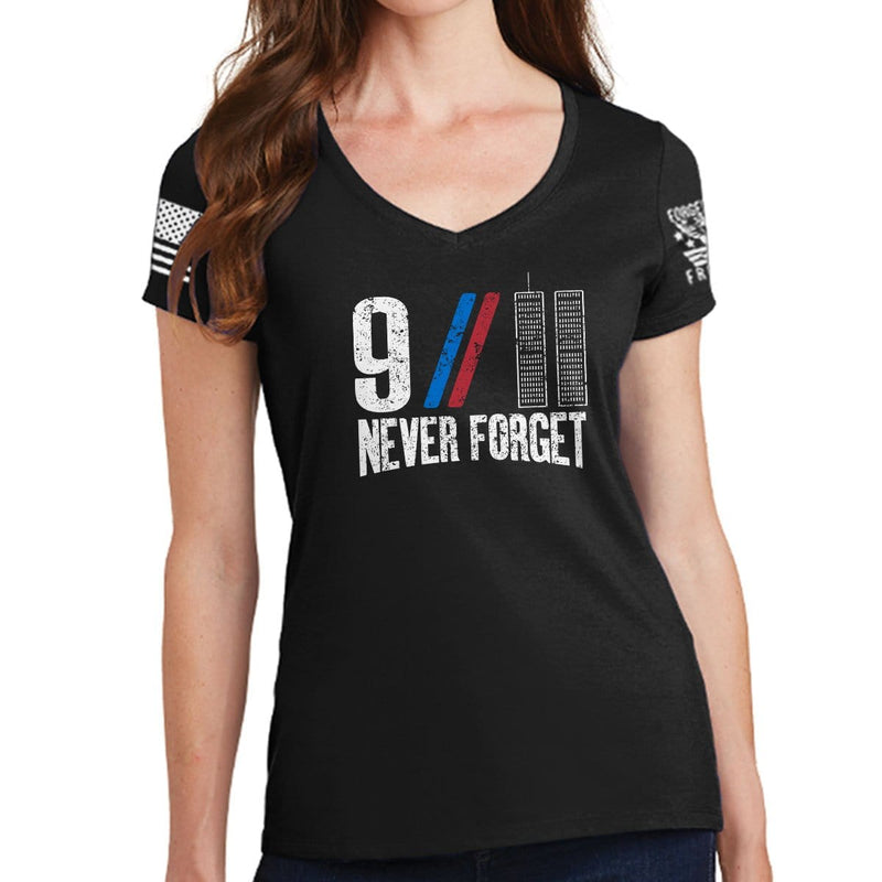Ladies 9/11 Never Forget V-Neck T-shirt
