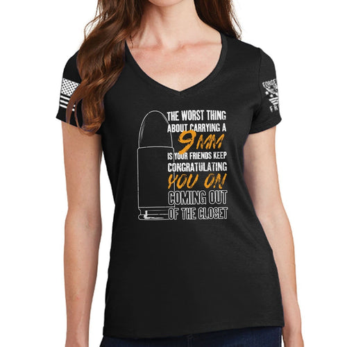 Ladies TYM 9mm Coming Out of The Closet V-Neck T-shirt