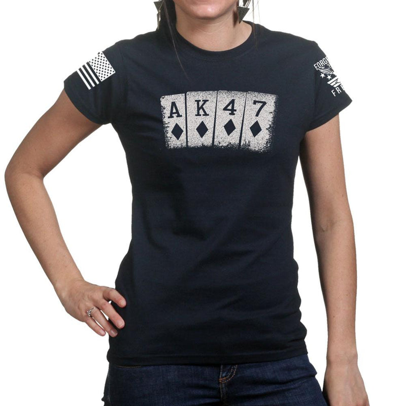 AK47 Playing Cards Ladies T-shirt
