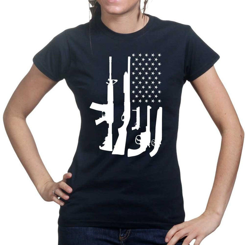 American Flag Gun Ladies T-shirt