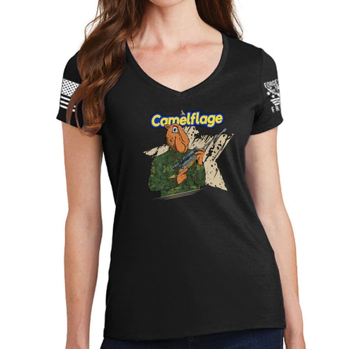 Ladies Camelflage V-Neck T-shirt