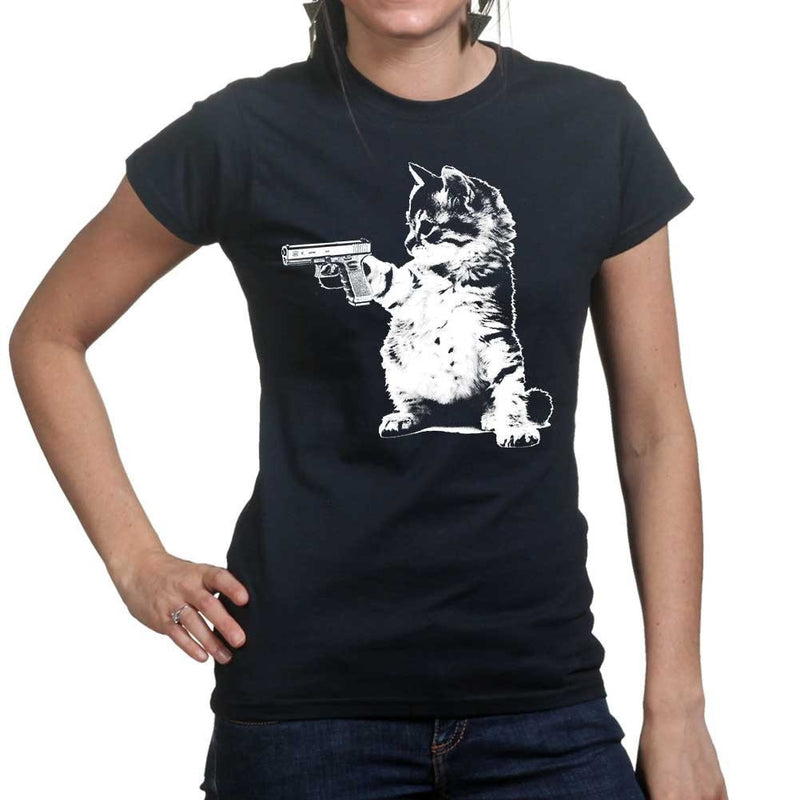 Ladies Kitty Cat Gun T-shirt