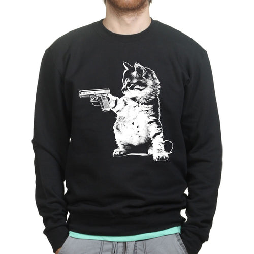 Unisex Kitty Cat Gun Sweatshirt