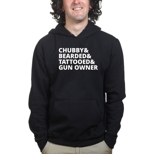 Chubby, Bearded, Tattooed, and Gun Owner Mens Hoodie