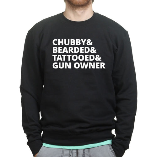 Chubby, Bearded, Tattooed, and Gun Owner Mens Sweatshirt