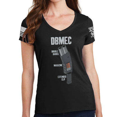 Ladies Double Barrel Magazine Extended Clip V-Neck T-shirt