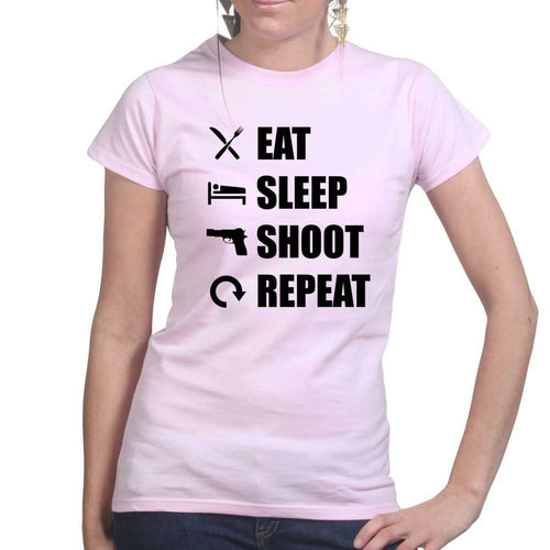 Eat Sleep Shoot Repeat Ladies T-shirt