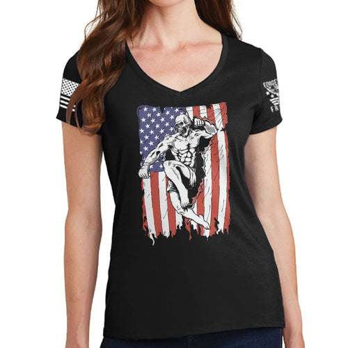 Ladies American Fighter V-Neck T-shirt