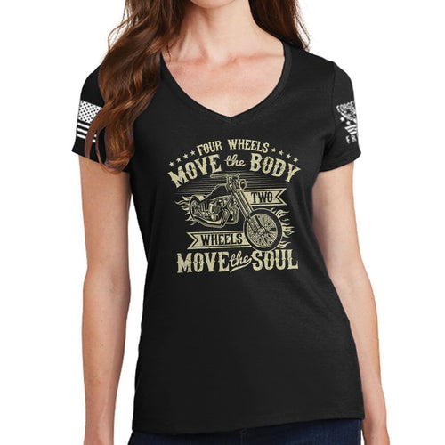 Ladies Four Wheels Move The Body V-Neck T-shirt