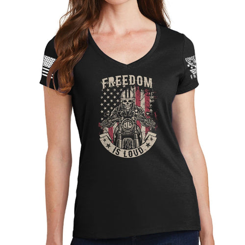 Ladies Freedom is Loud V-Neck T-shirt
