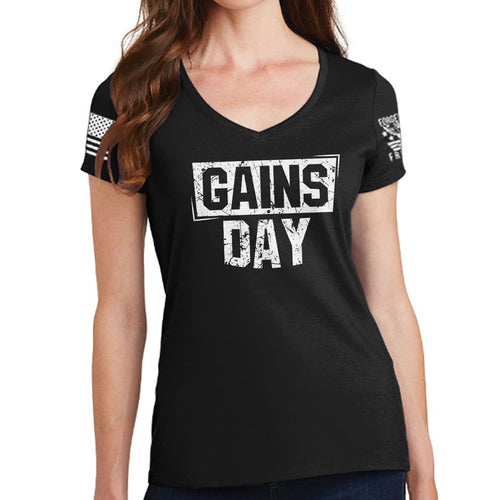 Ladies Gains Day V-Neck T-shirt