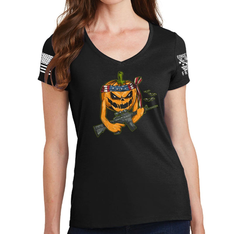 Ladies Tactical Pumpkin V-Neck T-shirt