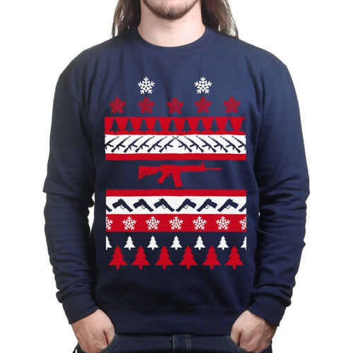 Guns Ugly Christmas Mens Sweatshirt