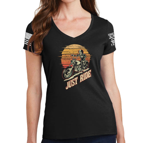 Ladies Just Ride V-Neck T-shirt