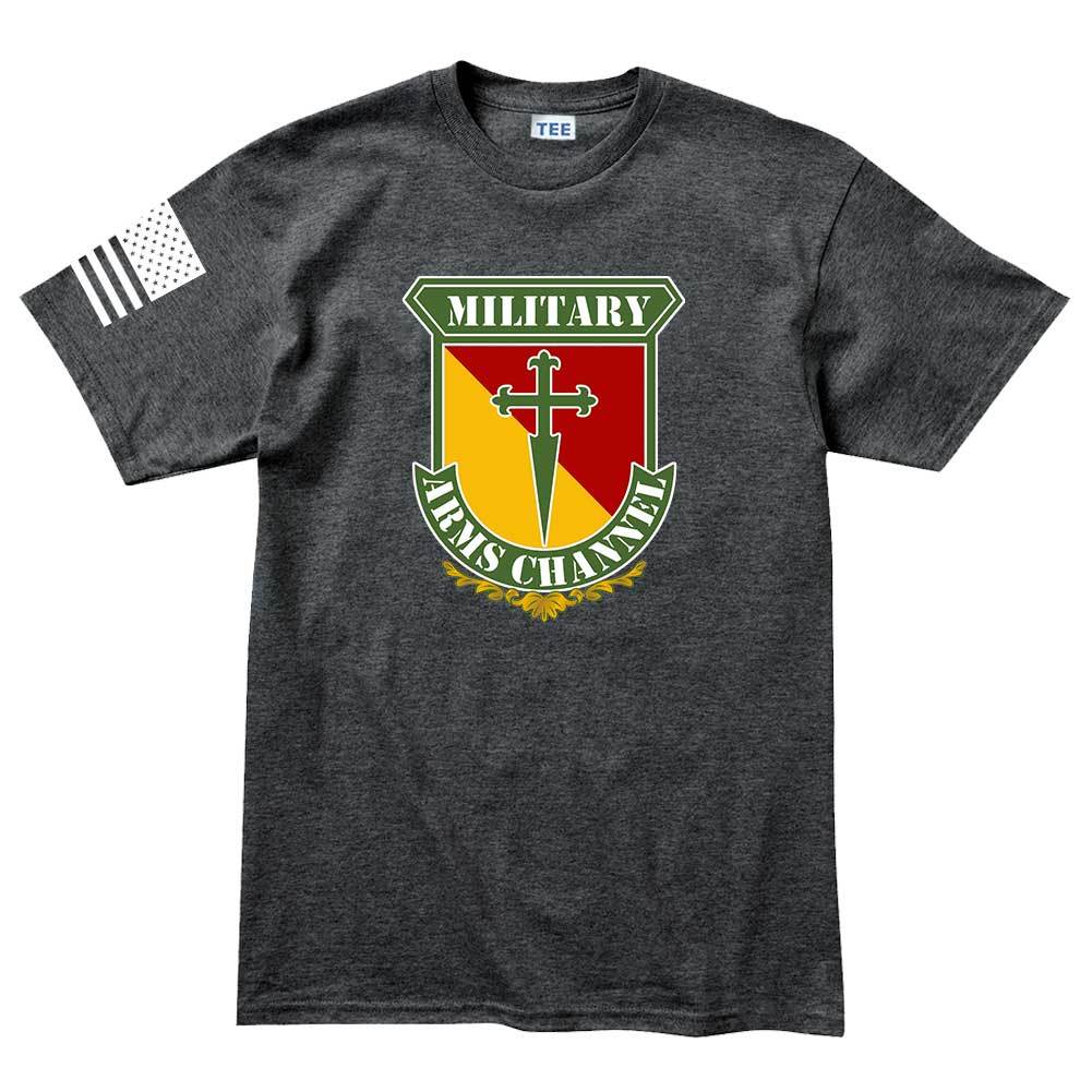 military arms channel logo mens t shirt forged from freedom