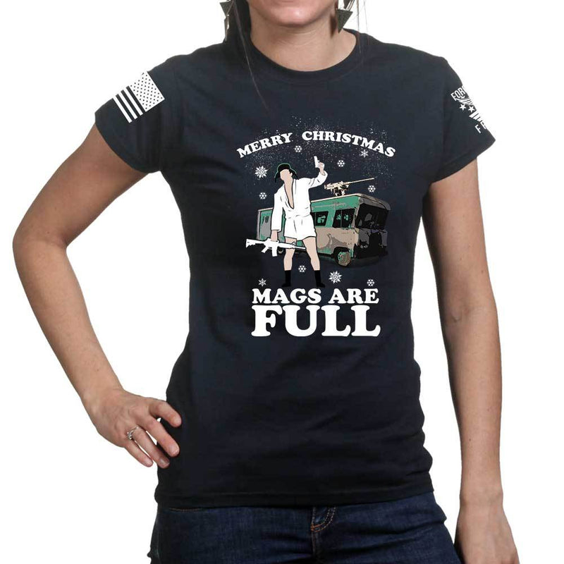 Merry Christmas Mags Are Full Ladies T-shirt
