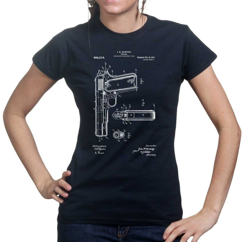 Ladies 1911 Pistol Blue Print T-shirt