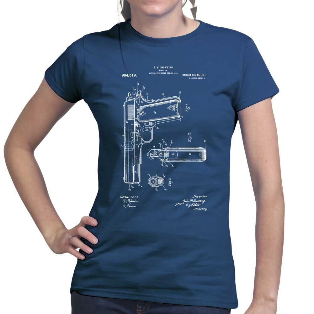 Ladies 1911 pistol blue print t shirt forged from freedom ladies 1911 pistol blue print t shirt malvernweather Gallery