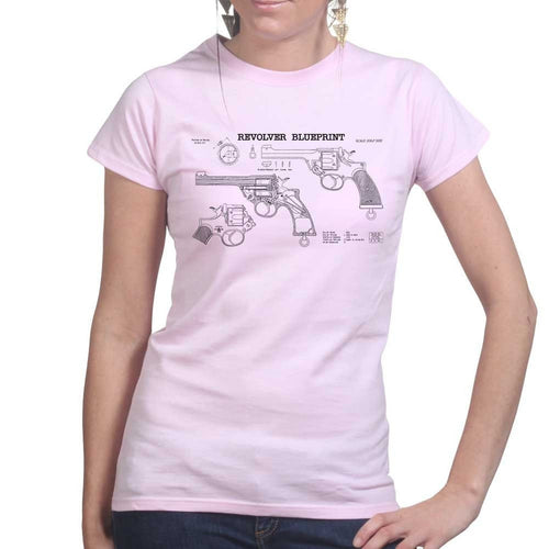 Vintage Revolver Blueprints Ladies T-shirt