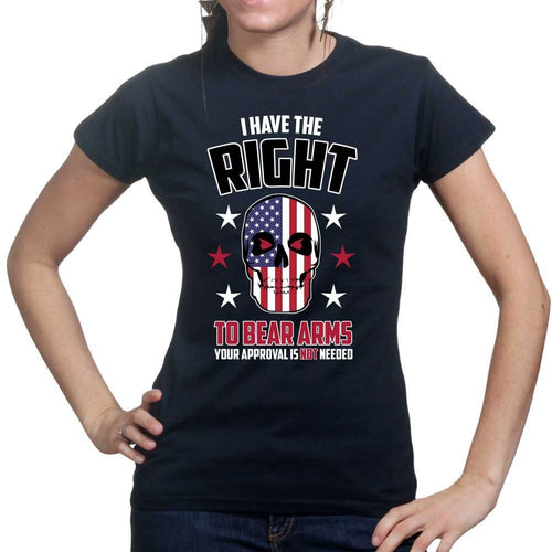 Right to Bear Arms Skull Ladies T-shirt