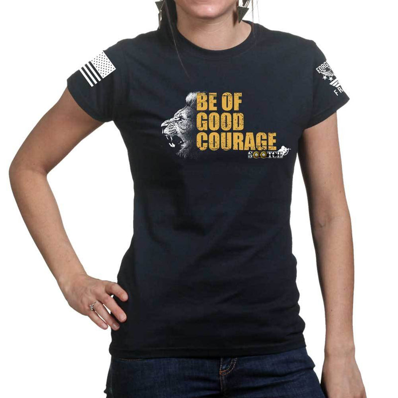 Sootch00 Be of Good Courage Lion Ladies T-shirt