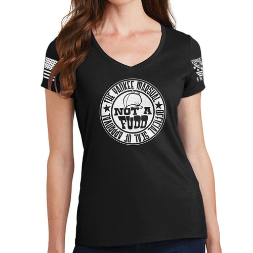 Ladies V-Neck Yankee Marshal Fudd Seal of Approval T-shirt