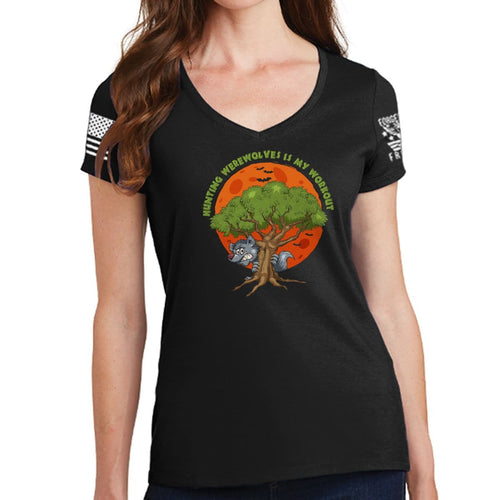 Ladies Hunting Werewolves Is My Workout V-Neck T-shirt