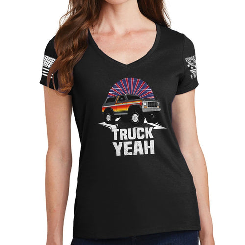 Ladies Truck Yeah - Bronco V-Neck T-shirt