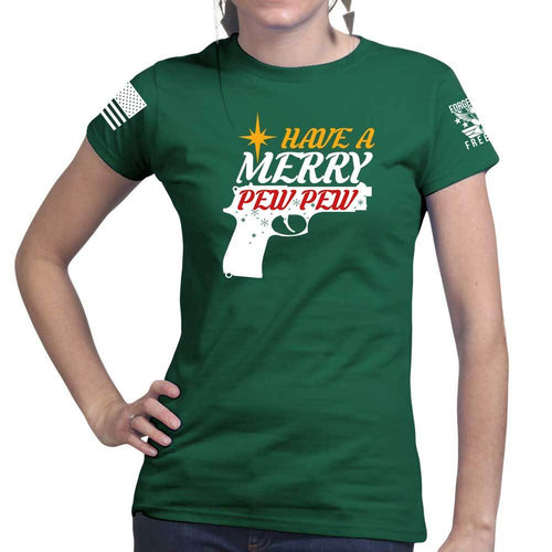 We Wish You A Merry Pew Pew Ladies T-shirt