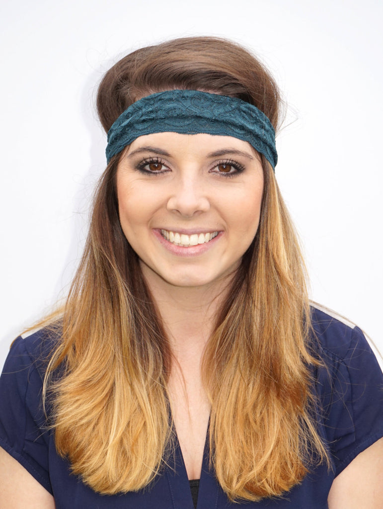 Dark Teal Lace Headband