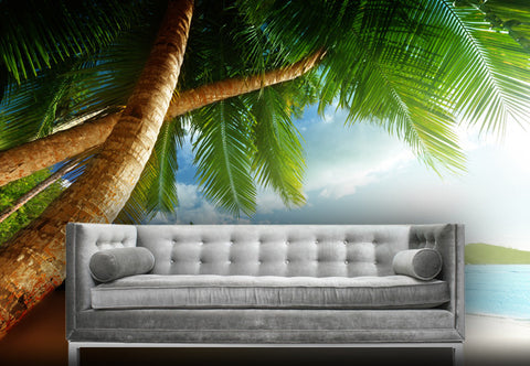 Beach Scene with Palm Trees Wall Decal