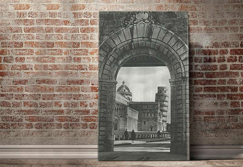Tower of Pisa through the Arch Vintage Canvas