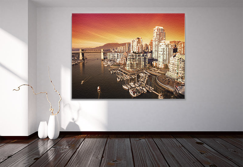 City Sunset Scene Canvas
