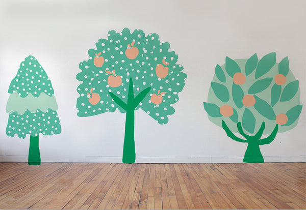 Whimsical Summer Trees #1 Wall Decals