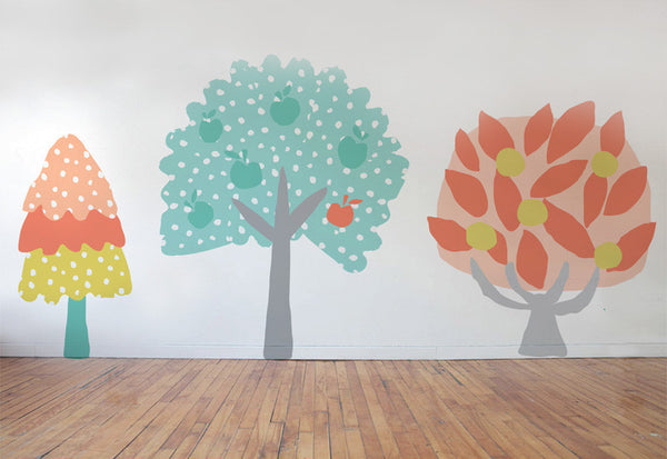 Whimsical Fall Trees #1 Wall Decals
