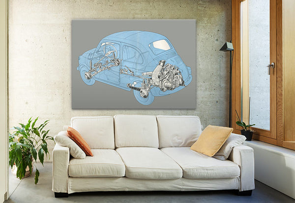 Fiat with Engine Detail Vintage Canvas