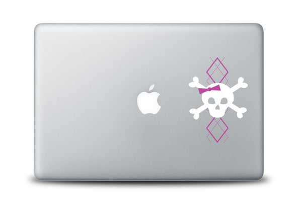 Argyle Skull with Bow Decal for Laptops