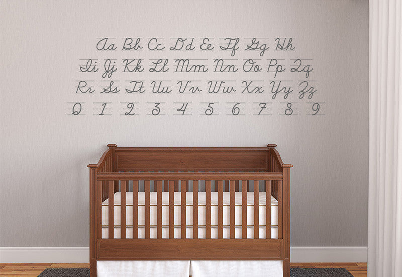 Cursive Du0027nealian Alphabet U0026 Numbers Wall Decal Part 66