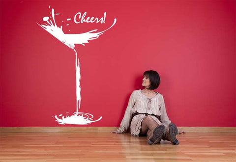 Cheers Martini Glass Wall Decal
