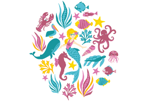 Under The Sea Mermaid Pack Wall Decals