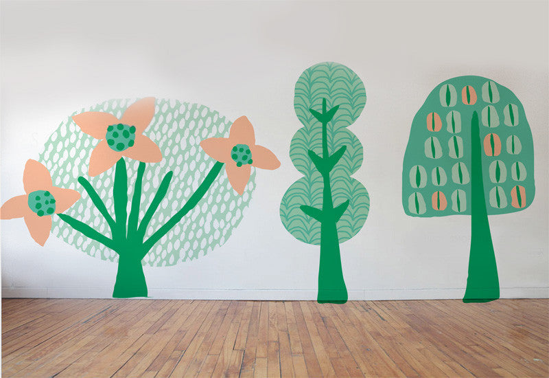 Whimsical Summer Trees #2 Wall Decals