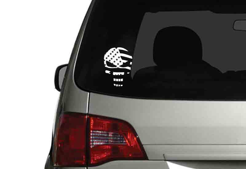 USA Flag Punisher Skull Vehicle Decal