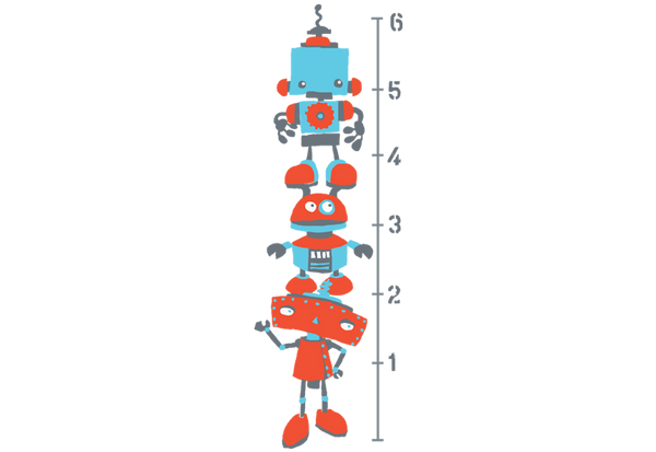 Robots Growth Chart Wall Decal