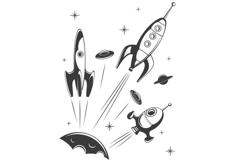 Space Rockets with Stars and Planets Wall Decal