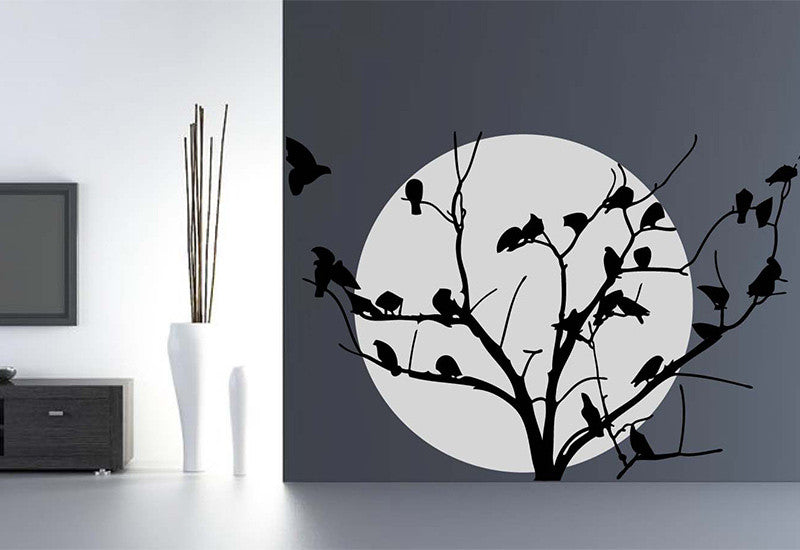 Moon with Birds on Tree Wall Decal