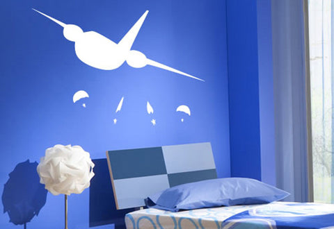 Airplane with Parachutes Wall Decal
