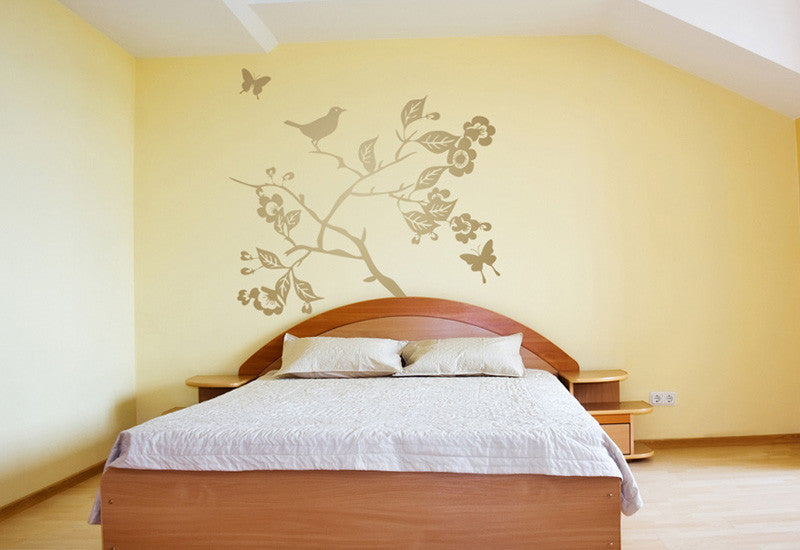 Branch with Leaves Flowers Birds & Butterflies Wall Decal